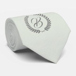 Cravate Guirlande grise avec les rayures Menthe-Vertes de