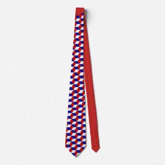 Cravate - illusion de bloc en rouge, blanc, bleu