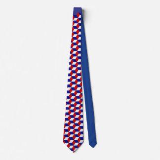 Cravate - illusion de bloc en rouge, blanc, et le