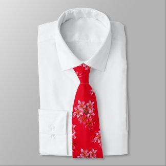 Cravate Impression florale hawaïenne de rouge de Plumeria