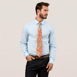 Cravate jaune-orange de mariage de Paisley de