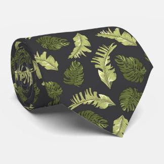 Cravate La jungle illustrée part du motif foncé