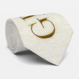 Cravate le mariage de damassé et d'or de crème de marié