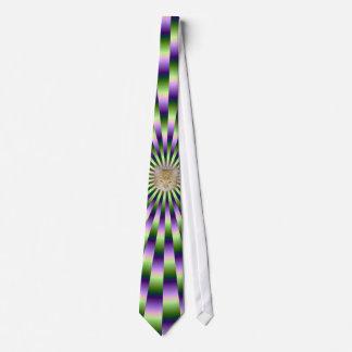 Cravate Liens verts et pourpres + Chat