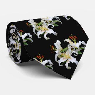 Cravate Lis orientaux blancs élégants de Casablanca