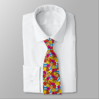 Cravate M. Men et petits visages de sourire lumineux de la