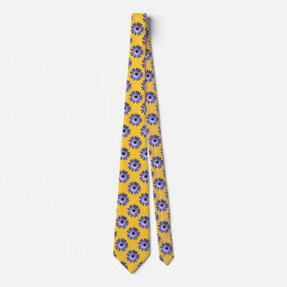 Cravate Marguerite bleue de Lapis sur la copie en cuir
