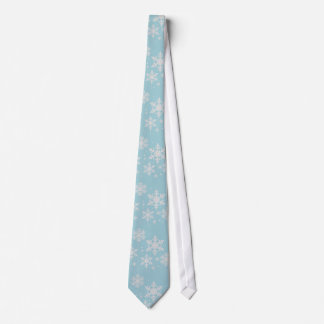 Cravate Mariage bleu vert d'hiver de flocons de neige