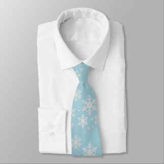 Cravate Mariage bleu vert et blanc d'hiver de flocons de