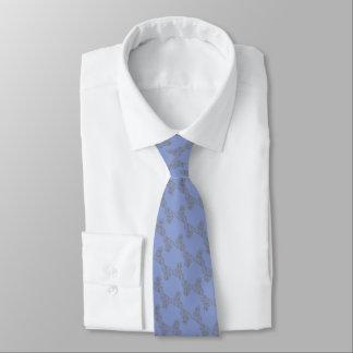 Cravate Mariage fleuri bleu et argenté