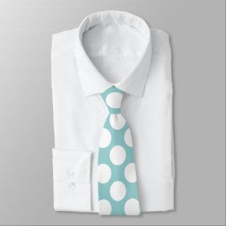 Cravate Menthe avec le pois blanc rétro