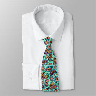 Cravate Menthe heureuse et motif orange de Paisley