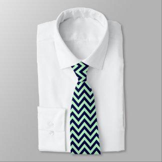 Cravate Menthe, motif de zigzag de Chevron de bleu marine