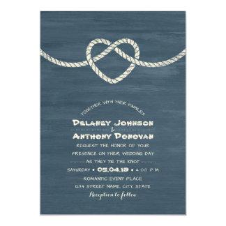 Cravate moderne le mariage nautique de plage carton d'invitation  12,7 cm x 17,78 cm