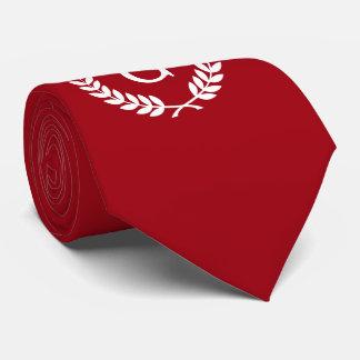 Cravate Monogramme blanc rouge d'initiale de guirlande de