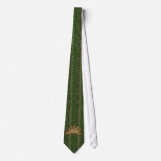Cravate Monogramme de vert et de peau de dinosaure de
