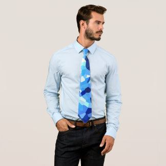 Cravate Mosaïque moderne en verre souillé de bleu et de