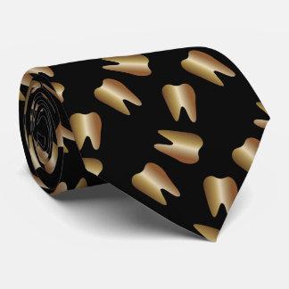 Cravate Motif de dent d'or de dentiste dentaire