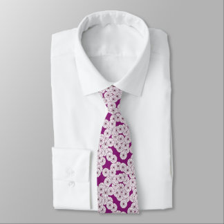 Cravate Motif de fleur d'art déco - blanc sur le pourpre