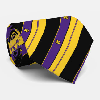 Cravate Motif de Fleur-De-lis de pourpre et d'or