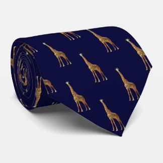 Cravate Motif de girafe sur le bleu marine foncé