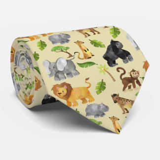 Cravate Motif de jungle de safari d'animal sauvage
