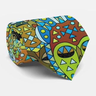 Cravate Motif de masque tribal translucide avec de l'or