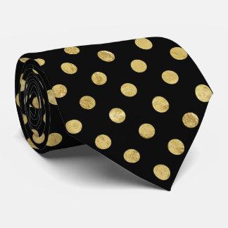 Cravate Motif de point élégant de polka de feuille d'or -