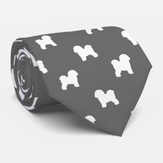 Cravate Motif de silhouettes de Bichon Frise