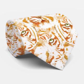 Cravate Motif de visage d'aquarelle de tigre