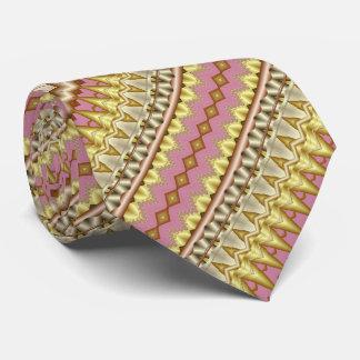 Cravate Motif diagonal de fractale de mauve, d'or et de