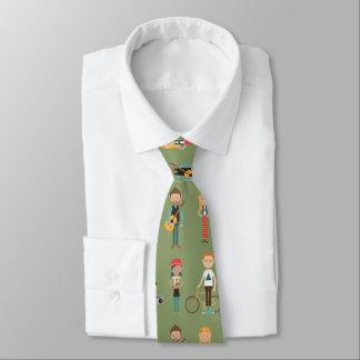 Cravate Motif d'illustrations de personnes de bande