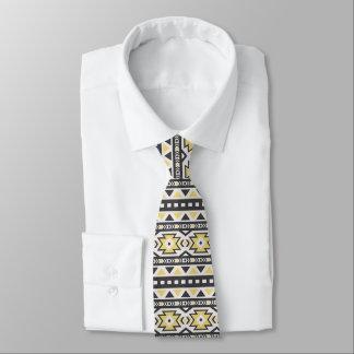 Cravate Motif du sud-ouest noir et blanc jaune