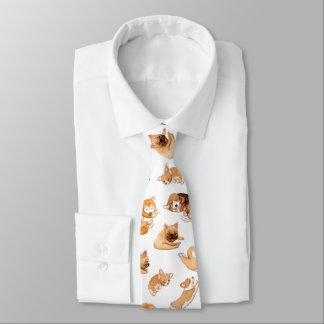 Cravate Motif illustré par chiens mignons d'aquarelle
