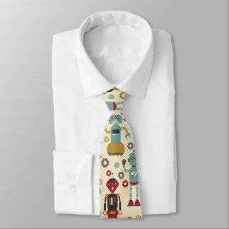 Cravate Motif illustré rétros par robots d'amusement