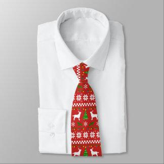 Cravate Motif laid de Noël d'andouillers de Labrador