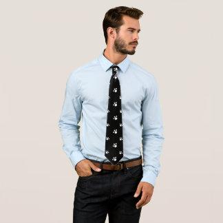 Cravate Motif mignon noir et blanc d'empreinte de patte de