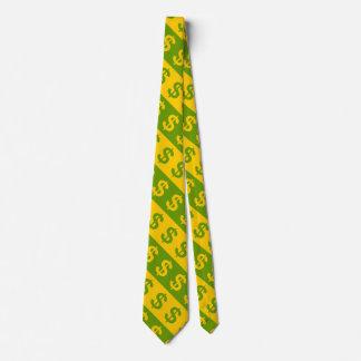 Cravate Motif rayé de symboles dollar verts et jaunes