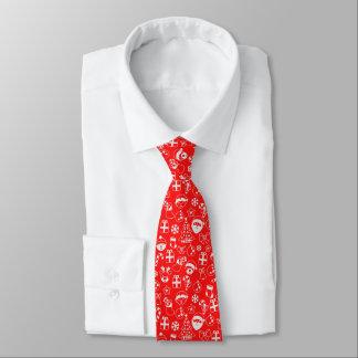 Cravate Motif rouge de bonhomme de neige de Père Noël Elf