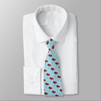 Cravate Motif rouge de pavot sur le bleu de ciel