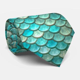 Cravate Motif vert de menthe d'échelles de poissons de