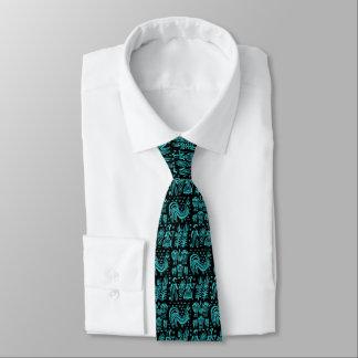 Cravate Motif vintage de Pyrex - bleu de turquoise de