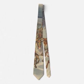 Cravate Noël vintage le père noël Sleigh avec le renne