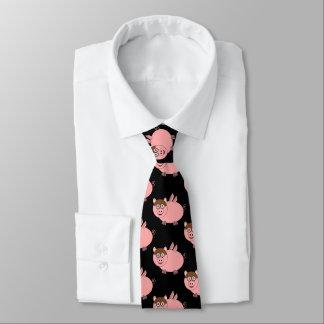 Cravate Noir de conception de porc
