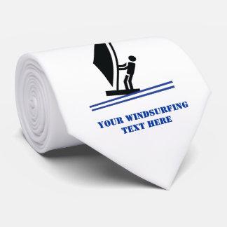 Cravate Noir de planche à voile à bord, coutume bleue de