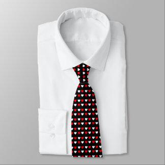 Cravate noir de Valentine de coeurs rouges et