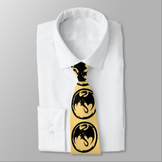 Cravate noire d'affaires d'or de dragon (2-sided)