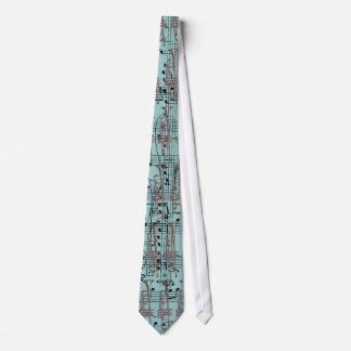 Cravate Notes bleues de trompette et de musique