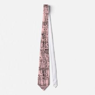 Cravate Notes roses de trompette et de musique