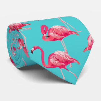 Cravate Oiseaux roses de flamant sur l'arrière - plan de
